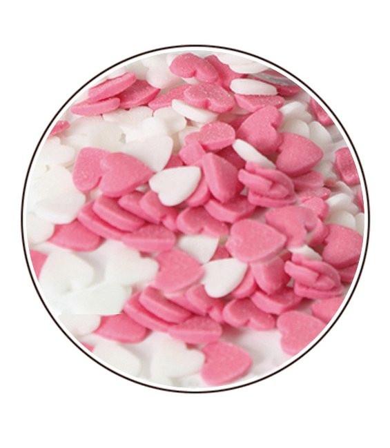 Streudekor Herzen Mix Weiss & Rosa, 7mm