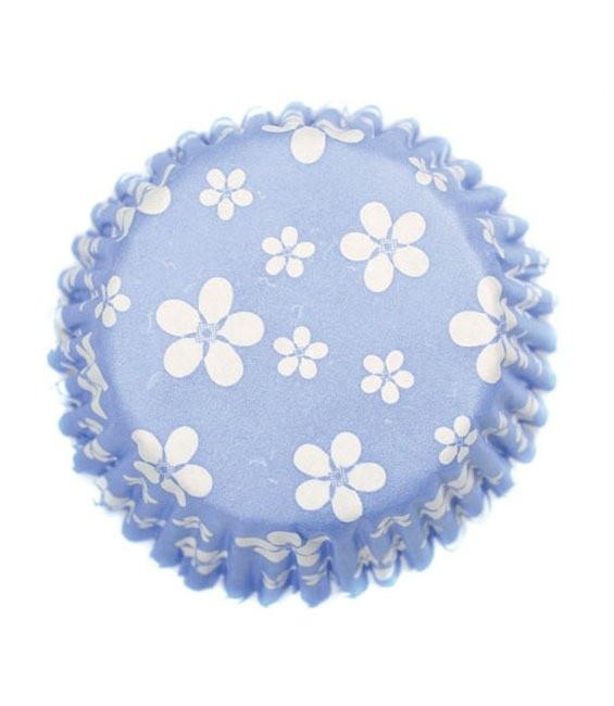Muffinförmchen Hellblau mit Blümchen, 54 Stück