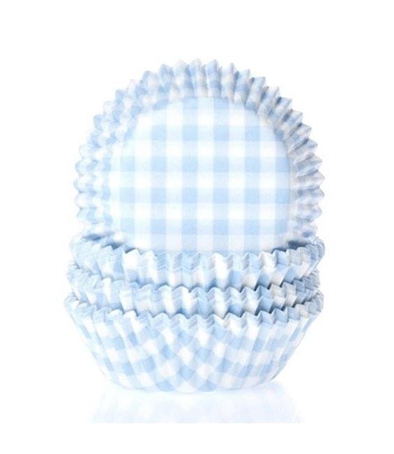 Muffinförmchen klein Hellblau kariert, 60 Stück