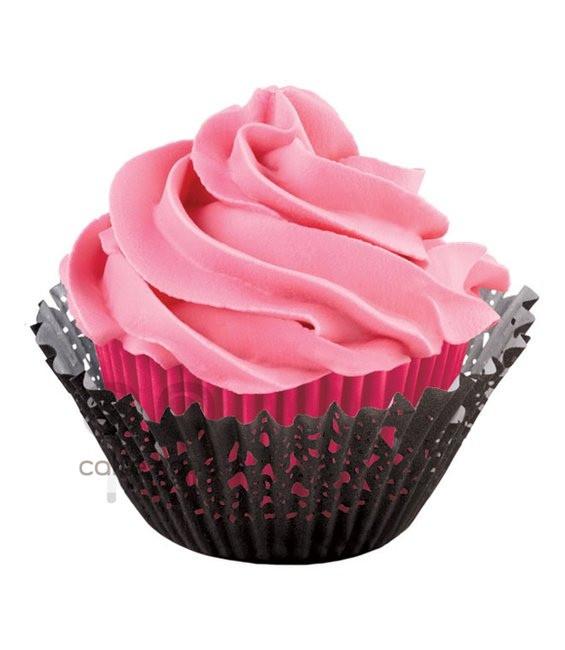 Muffinförmchen Doily Pink/Schwarz, 48 Stück