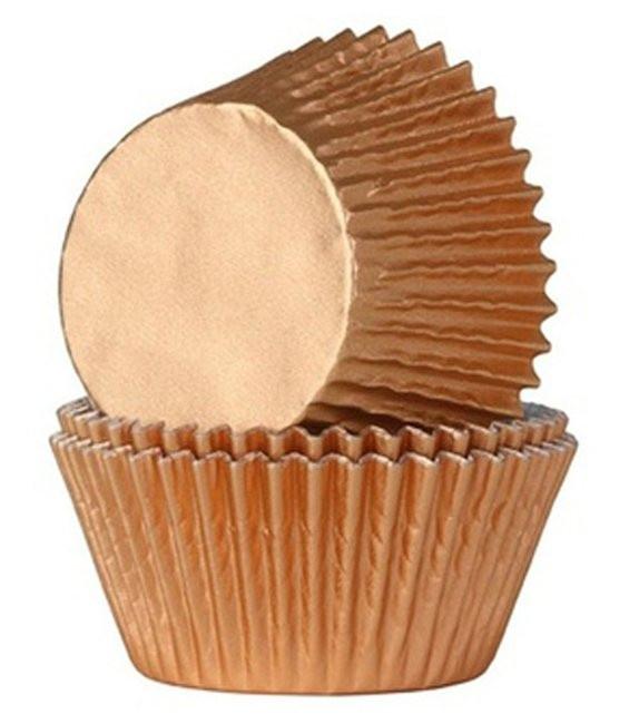 Muffinförmchen Metall Bronze, 24 Stück
