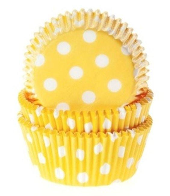 Muffinförmchen Gelb gepunktet, 50 Stück