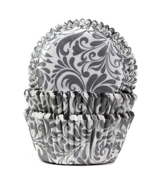 Muffinförmchen Weiss Silber, 50 Stück