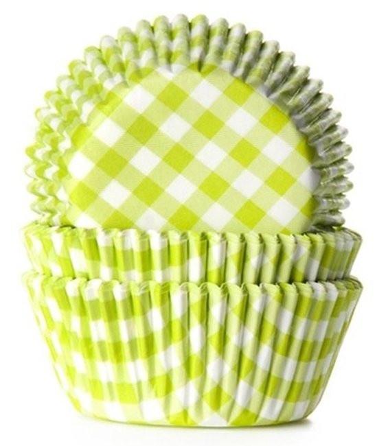 Muffinförmchen Hellgrün kariert, 50 Stück