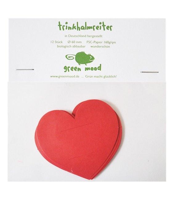 Papierreiter Herz uni Rot, 12 Stück