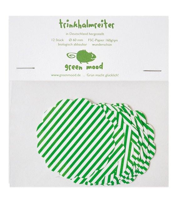 Papierreiter Kreis gewellt Streifen Grasgrün, 12 Stück