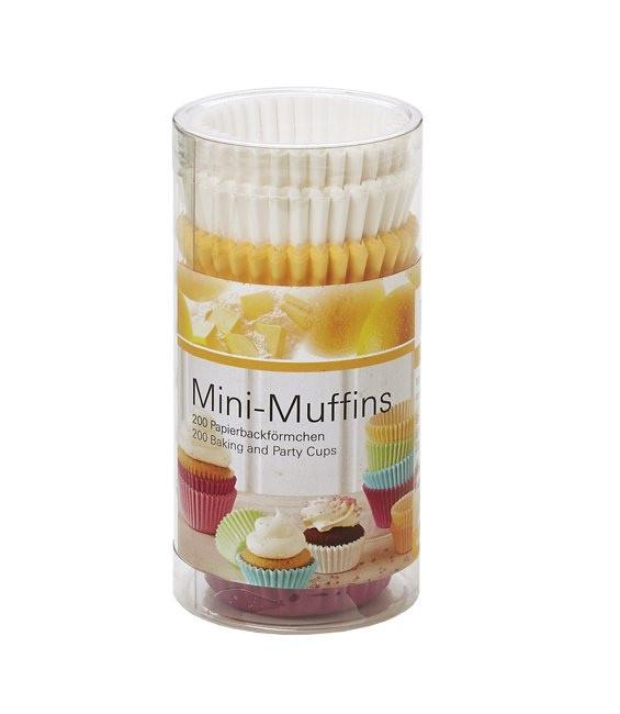 Muffinförmchen klein Set Multi Weiss/Pastell, 200 Stück