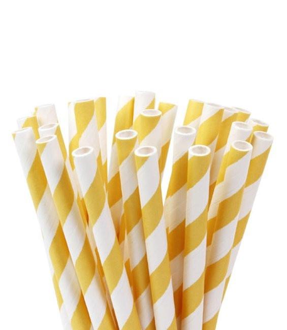 Trinkhalme Gelb gestreift, 20 Stück