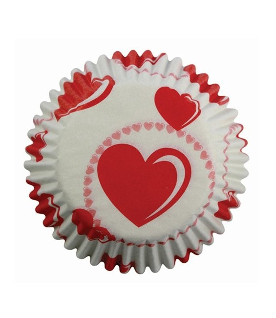 Muffinförmchen Rote Herzchen, 60 Stück