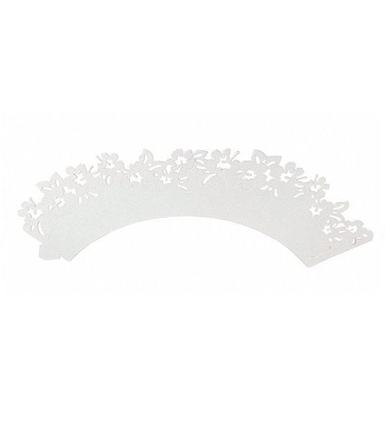 Muffinmanschette Blumen Weiss, 12 Stück