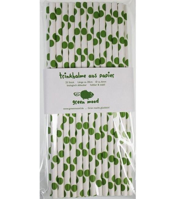 Trinkhalme Punkte Grasgrün, 25 Stück