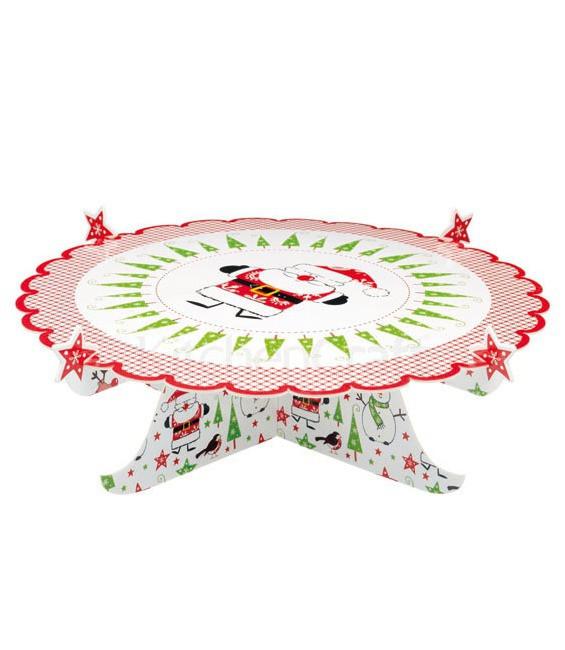 Faltbarer Kartontorten- Kuchenständer Santa