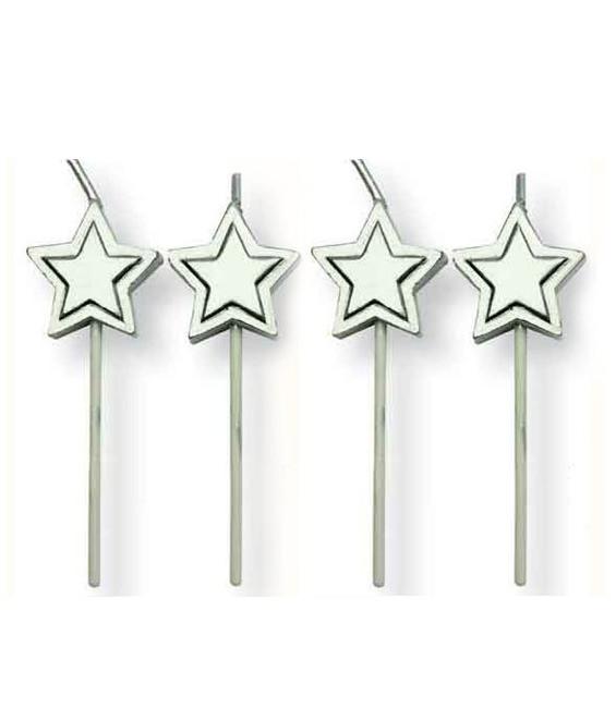 Minikerzen Silbersterne, 8 Stück