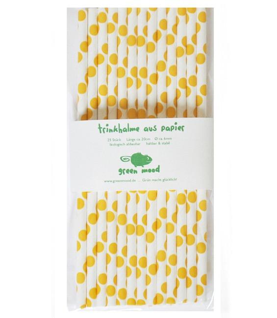 Trinkhalme Punkte Gelb, 25 Stück