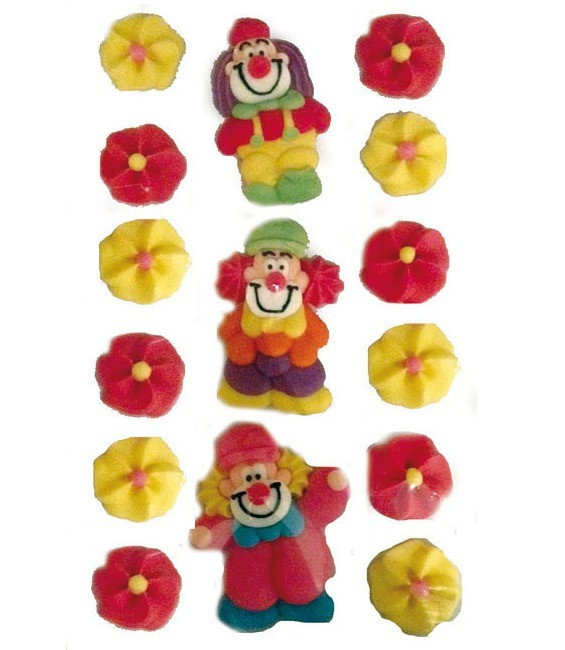 Clowns mit Blumen, 15 Stück