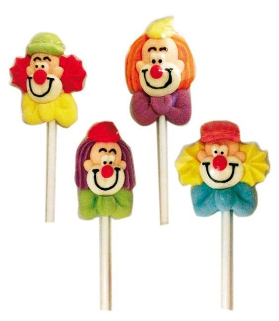 Clowngesichter am Stab, 4 Stück