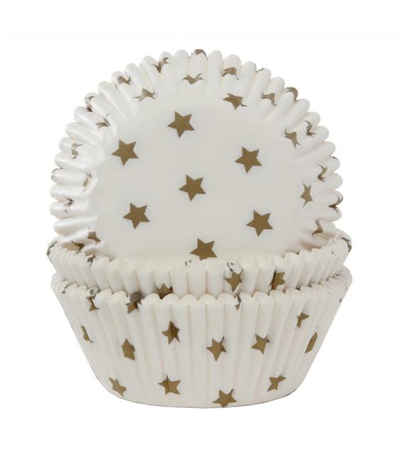 Muffinförmchen Sterne Gold, 50 Stück