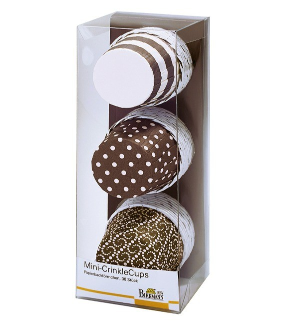 Muffinförmchen Mini Braun/Beige Mix gerafft, 36 Stück
