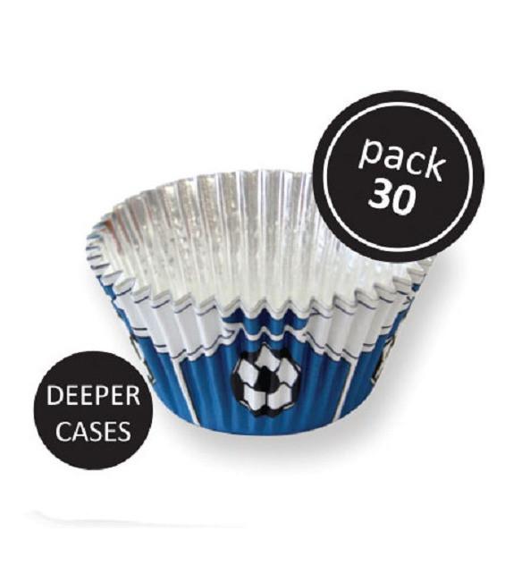 Muffinförmchen Fussbälle blau, 30 Stück