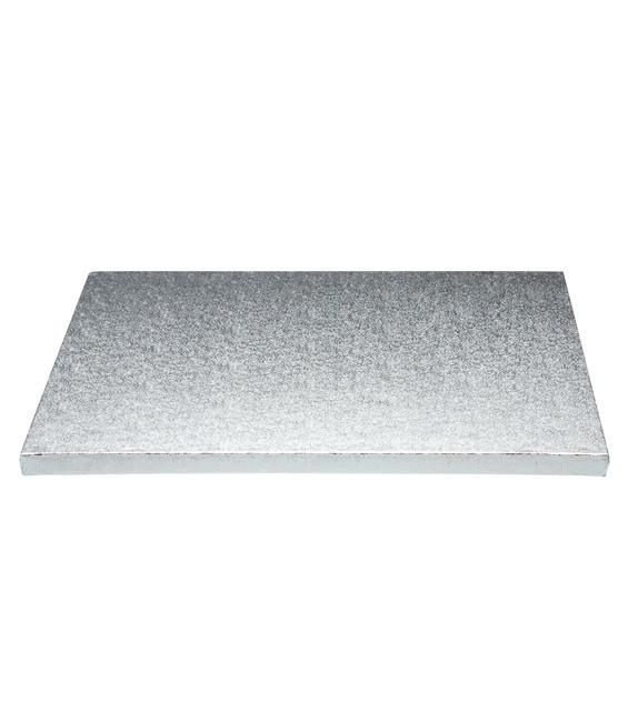 Stabile Quadratische Tortenunterlage Silber, 35cm