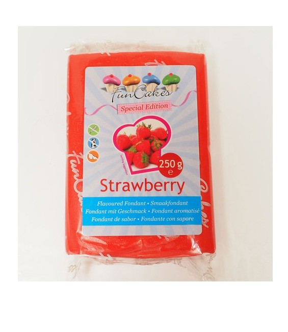 Funcakes Geschmacksfondant, 250g Rot mit Erdbeere Aroma
