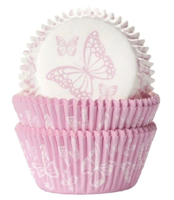 Muffinförmchen Schmetterling Rosa, 50 Stück