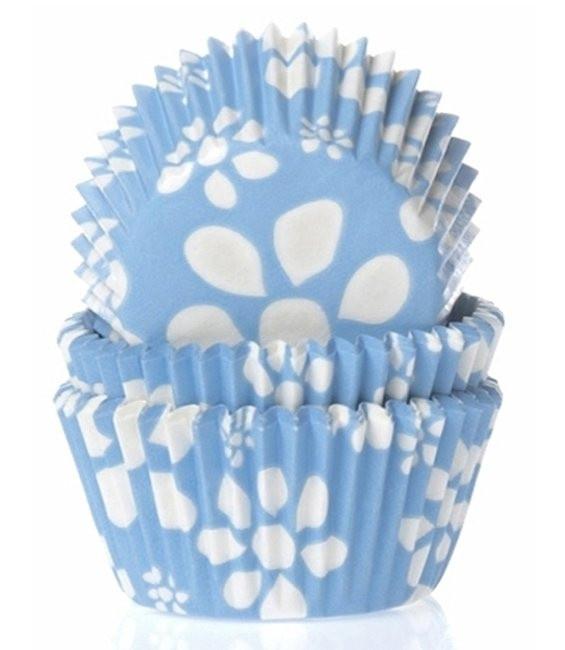 Muffinfömchen Blümchen Blau, 50 Stück