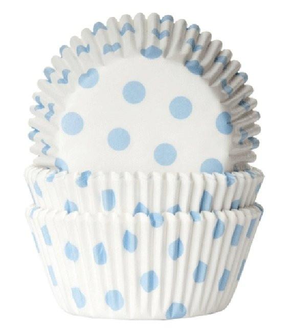 Muffinförmchen Weiss/Hellblau gepunkte, 50 Stückt