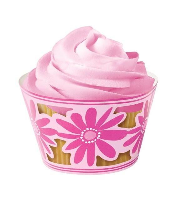 Muffinmanschette Pink Blume, 18 Stück