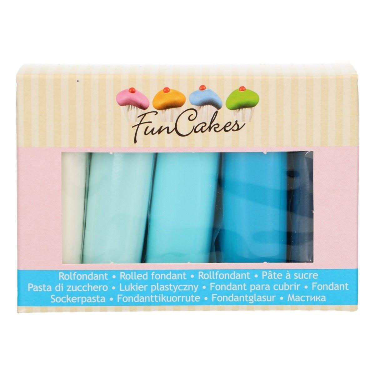 FunCakes Fondant Multipack Blue Colour Palette 5 x 100 g