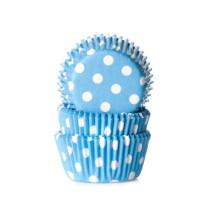 Muffinförmchen klein Hellblau gepunktet, 60 Stück