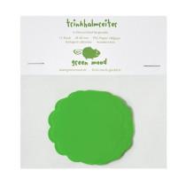 Papierreiter Kreis gewellt uni Grün, 12 Stück