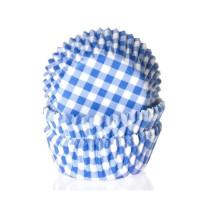 Muffinförmchen klein Blau kariert, 60 Stück