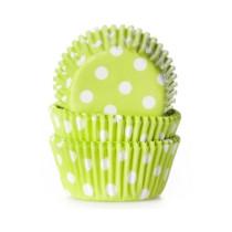 Muffinförmchen klein Hellgrün gepunktet, 60 Stück