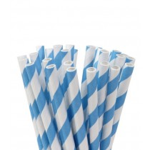 Trinkhalme Hellblau gestreift, 20 Stück