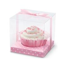 Cupcakes Box Rosa/Weiss gepunktet, 20 Stück