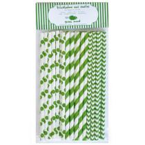 Trinkhalme Mix Grün, 25 Stück