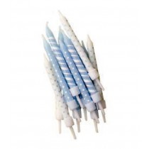 Kerzen Hellblau Mix mit Halter, 12 Stück
