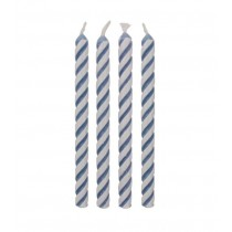 Kerzen blau gestreift