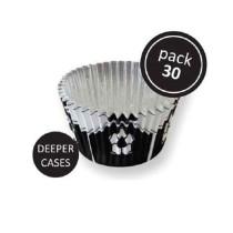 Muffinförmchen Fussbälle schwarz, 30 Stück