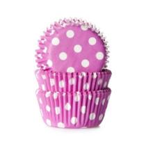 Muffinförmchen klein Pink gepunktet, 60 Stück
