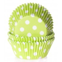 Muffinförmchen Limonengrün gepunktet, 50 Stück