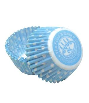 Muffinförmchen klein Hellblau gepunktet, 50 Stück