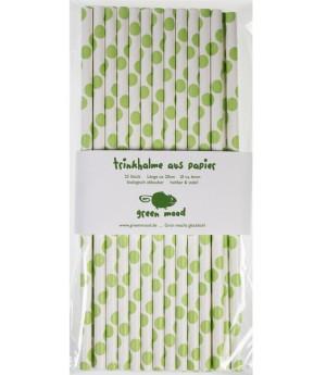 Trinkhalme Punkte Lindgrün, 25 Stück