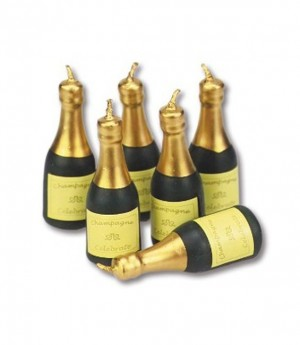 Kerzen Champagnerflaschen, 6 Stück