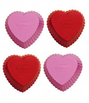 Silikonbackform Cupcake Herz, 12 Stück