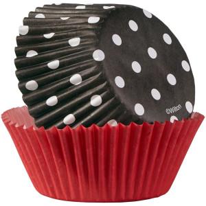 Muffinförmchen Rot / Schwarz gepunktet