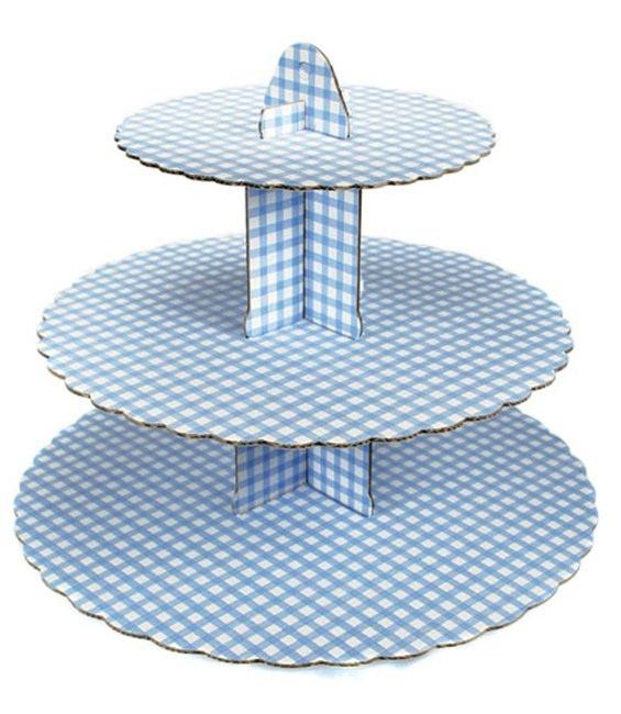 Display 3-stöckig Karo Hellblau