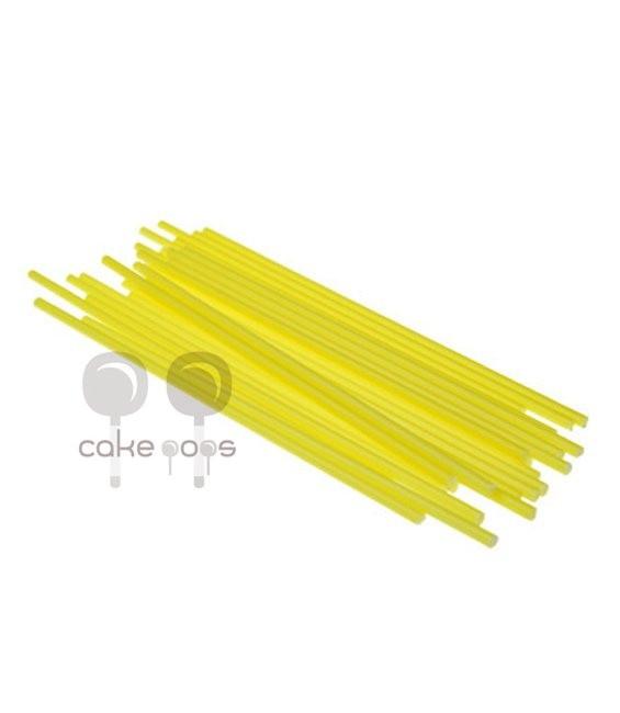 Kunststoff Lollipop Sticks Gelb 19 cm, 25 Stück