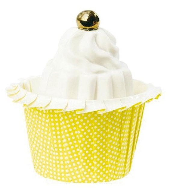 Muffinförmchen Gelb gepunktet gerafft, 12 Stück